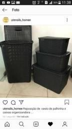 Conj com 3 caixas organizandora +cesto
