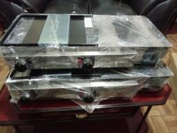 Chapa sanduiche c/prensa 30x70 em aço inox lacrada na caixa