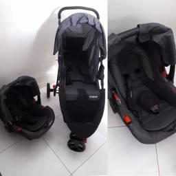 Carrinho de Bebê Travel System Jetty Duo Preto Mescla com Bebê Conforto - Cosco