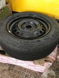Estepe completo roda aro 15 com pneu meia vida