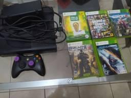 Xbox 360 - 1 controle - guitarra - 5 jogos