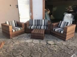 Conjunto de sofá Maldivas em fibra sintética