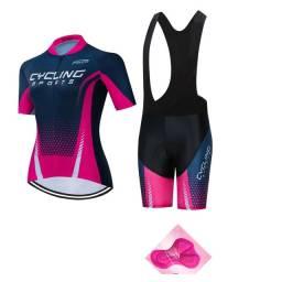 Conjunto de Ciclismo Feminino Mtb Ciclista