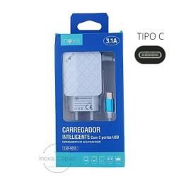 Título do anúncio: Carregador de Parede Tomada Com Cabo e 2 USB 3.1A INOVA, ttipo c Micro Usb