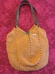 Bolsa de crochê com alças em couro - Nova!