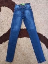 Calças jeans skinny, cintura alta tamanho 38