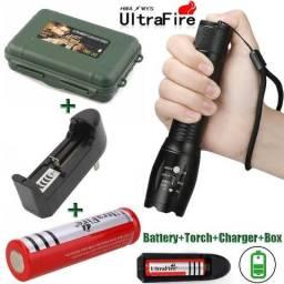 Lanterna De Led Tática Ultrafire 50000lm C/estojo + Bateria