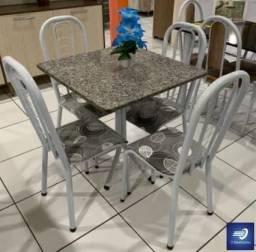 Sala de Jantar com 4 cadeiras e Tampo de Granito #FreteGRÁTIS* #Garantia #Lacrado