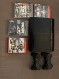 Playstation 3 SuperSlim + 2controles e 4jogos Originais