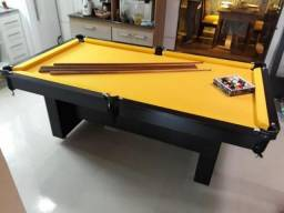 Mesa de Sinuca 2 Pés Centrais Cor Preta Tx Tecido Amarelo Modelo ECT5823