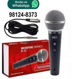Microfone Dinâmico Profissional Sm58 Mxt M-58 + Cabo 3m karaokê igreja barzinho show