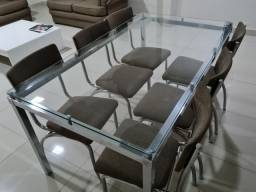 Mesa Jantar cromada,  tampo de vidro e 6 cadeiras