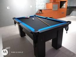 Mesa Charme Redinha Cor Preta Tecido Preto e Borda Azul Mod. BJSY8701