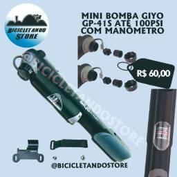 Mini Bomba para Bike com Manômetro 100Psi Giyo GP-41S