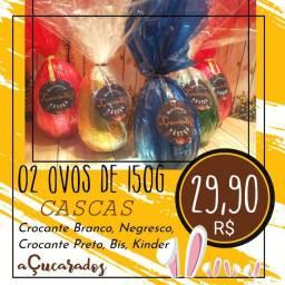 Ovos de páscoa com chocolate nobre e marcas originais