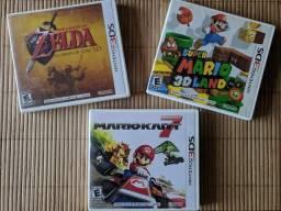 Lote Jogos Nintendo 3DS (Zelda OOT / Mario 3D / Mario Kart)