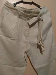 Calça Pantacourt de linho Richards, tam. 38