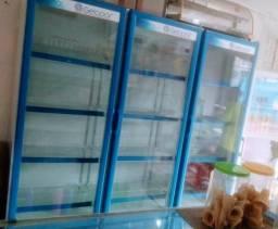 """Refrigerador/ Expositora """"Top"""" azul 3 portas"""
