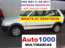 Uno Way 4P Com Ar Condicionado. Entr. 3.000,00 + 48x 596,00 - 2011