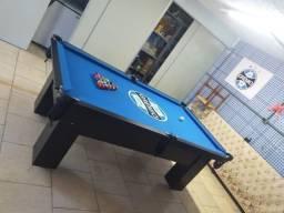 Mesa Charme de Sinuca e Bilhar Cor Preta Tecido Azul Logo Grêmio HBXR8159