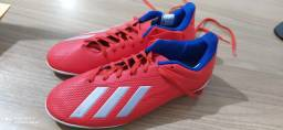 Chuteira Futsal Adidas X 18 4 IN - Unissex - Vermelho+Prata Nº 40