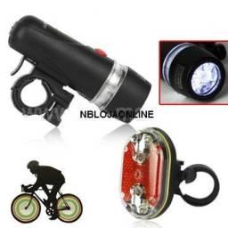 Kit De Luzes De Segurança Para Bike: Farol 5 Leds R$ 28,00