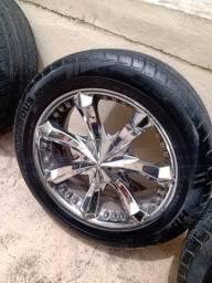 Jogo de rodas cromadas com pneus