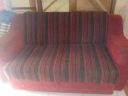 Rack e sofà que faz cama de casal