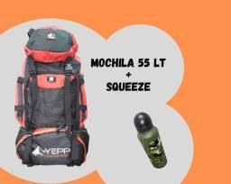 Mochila impermeável 55l + squeeze de brinde