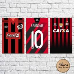 Kit 3 placas decorativas Athletico