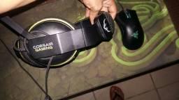 Mouse razer e headset cosair