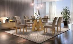 Mesa de Jantar Belle 6 Cadeiras com tampo de MDF, chanfrado com vidro - Entrega Grátis;