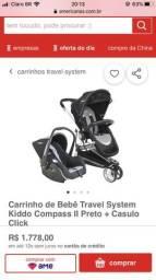 Carrinho de Bebê Travel System Kiddo Compass II Preto + Bebê Conforto