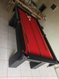Mesa (Quatro Pés) Cor Preta Tecido Vermelho e Borda Preta Mod. VCEO8114