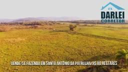 Fazenda em Santo Antônio 80Ha com Campo, Rio, Pedreira e Britadeira. Peça o Video Aéreo