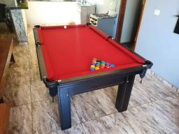 Mesa Tentação 1,93 x 1,18 Cor Tabaco Tecido Vermelho Mod. RTYS7077