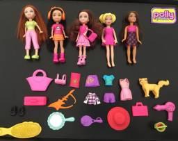 Lote com 5 polly pocket + mini barbie