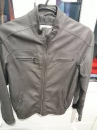 Linda jaqueta de couro infantil marron, tam. 6, veste 8