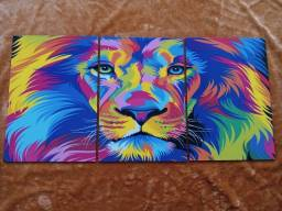 Quadro Decorativo Leão Colorido Triplo Medindo 78cm x 38cm