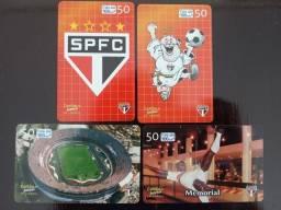 Título do anúncio: 4 Cartões Telefônicos - Série Completa - História do São Paulo