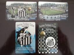 Título do anúncio: 4 Cartões Telefônicos - Série Completa - Cartões comemorativos dos 89 anos do Santos