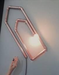 Luminária em pvc clips, com a lâmpada, cor cobre, nova