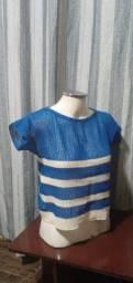 Título do anúncio: Blusa Manga Curta Feminina Tricot Listras Azul/Branca com Lurex -M