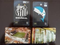 Título do anúncio: 4 Cartões Telefônicos - Série Completa - História do Santos