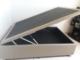 Box Cama de Casal Bau Ortobom Amortecedores Couro Novissima