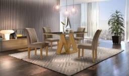 Mesa Belle 4 Cadeiras com tampo de madeira, chanfrado com vidro - Entrega Imediata;
