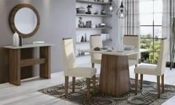 Mesa Nevada Lopas 4 Cadeiras Dafne com vidro Chanfrado - Entrega Gratuita e Imediata!