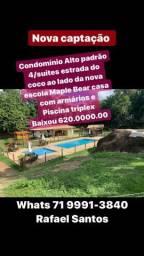 Casa de 4 suítes 2 salas piscina triplex armários baixou 620 mil