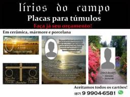 Placas para túmulo (Cerâmica, mármore e porcelana)