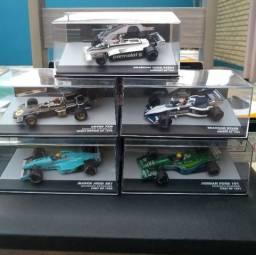 Miniaturas oficiais Fórmula 1, Lendas Brasileiras, contém 3 carrinhos 1:43 e revistas